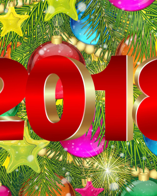 Happy New Year 2018 eMail Greeting Card Background for 240x320
