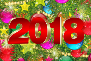 Happy New Year 2018 eMail Greeting Card Wallpaper for Android, iPhone and iPad