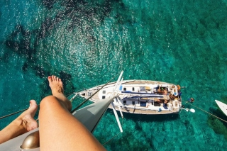 Crazy photo from yacht mast - Fondos de pantalla gratis