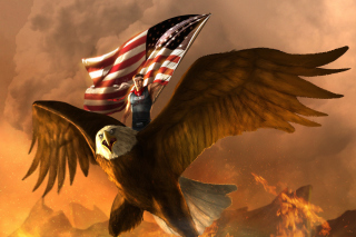 USA President on Eagle Background for Android, iPhone and iPad