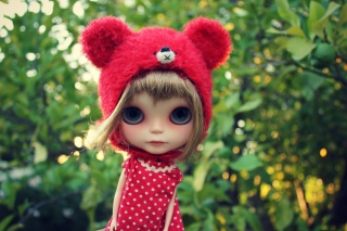 Cute Doll In Red Hat Background for Android, iPhone and iPad