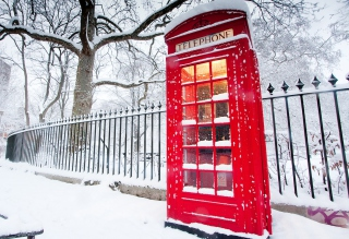 English Red Telephone Booth sfondi gratuiti per 1920x1408