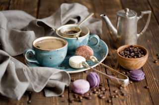 Kostenloses Vintage Coffee Cups And Macarons Wallpaper für Android, iPhone und iPad