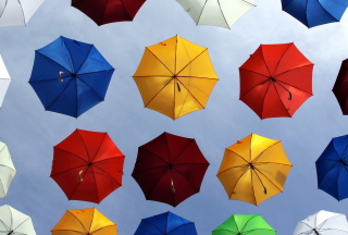 Colorful Umbrellas In Blue Sky Picture for Android, iPhone and iPad