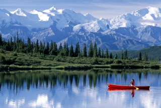 Canoe In Mountain Lake Picture for Android, iPhone and iPad