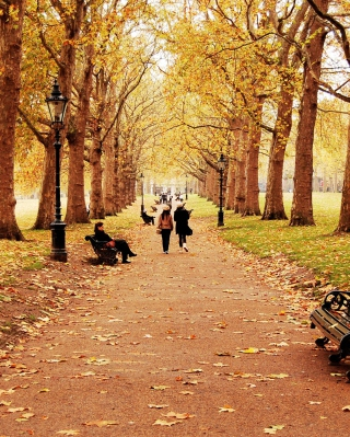 Walk In Autumn Park sfondi gratuiti per iPhone 4S