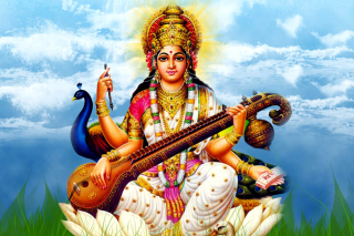 Saraswati Mantra Background for Desktop 1280x720 HDTV