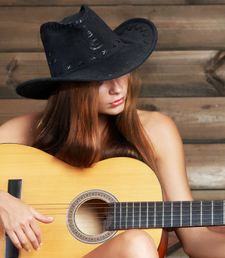 Girl, Hat And Guitar Wallpaper for iPhone 6 Plus