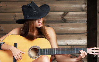 Kostenloses Girl, Hat And Guitar Wallpaper für Android 540x960