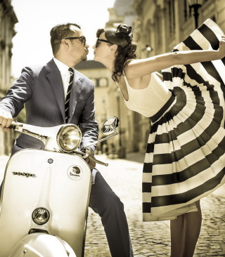 Retro Couple And Vintage Vespa Background for Nokia C-Series