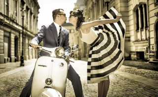 Retro Couple And Vintage Vespa Background for Android, iPhone and iPad