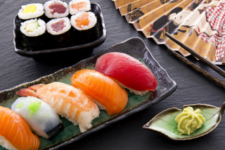 Sushi with salmon, tuna and shrimp Wallpaper for Android, iPhone and iPad