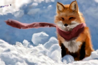 Free Fox Painting Picture for Android, iPhone and iPad