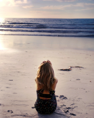Lonely Girl On Beautiful Beach Background for iPhone 6 Plus