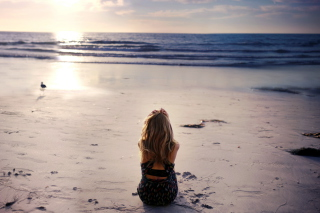 Lonely Girl On Beautiful Beach Picture for Android, iPhone and iPad