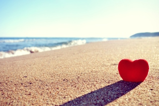 Heart Shadow On Sand Wallpaper for Android, iPhone and iPad