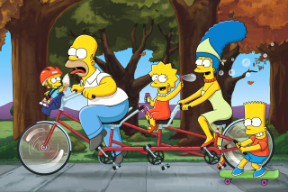 The Simpsons Maggie, Marge, Homer and Bart sfondi gratuiti per Fullscreen Desktop 800x600