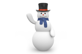 Snowman In Black Hat Wallpaper for Android, iPhone and iPad