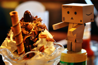 Danbo Loves Ice Cream Wallpaper for Android, iPhone and iPad