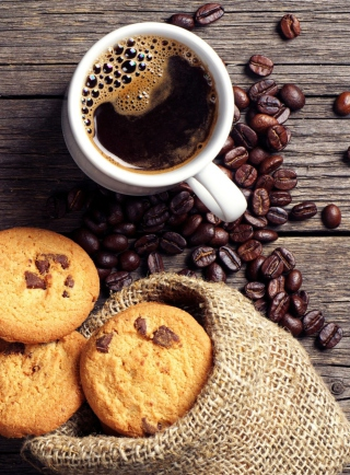 Обои Perfect Morning Coffee With Cookies для телефона и на рабочий стол Nokia Asha 305