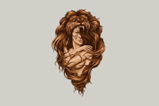 Lion Girl Illustration Wallpaper for Android, iPhone and iPad
