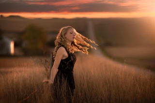 Autumn girl on field Background for Android, iPhone and iPad