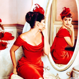 Penelope Cruz In Little Red Dress sfondi gratuiti per iPad Air