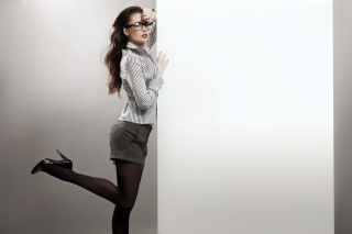 Beautiful secretary girl in office clothes Background for Android, iPhone and iPad