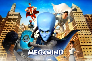 Megamind: Bad Blue Brilliant Wallpaper for 1600x1280