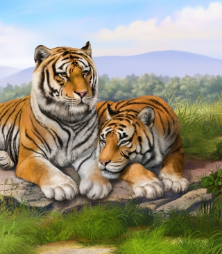 Tigers Art Wallpaper for 640x1136