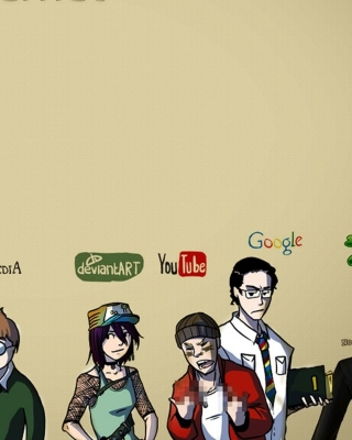 Social Networks, Twitter, Facebook, Youtube, Wikipedia Background for 480x800