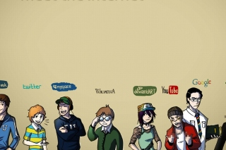Social Networks, Twitter, Facebook, Youtube, Wikipedia Wallpaper for 640x480