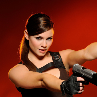 Gangster sensual girl with pistol Wallpaper for iPad mini