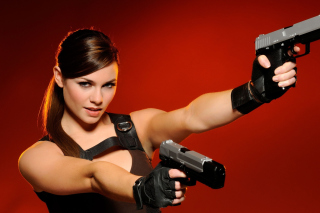 Gangster sensual girl with pistol Background for Android, iPhone and iPad