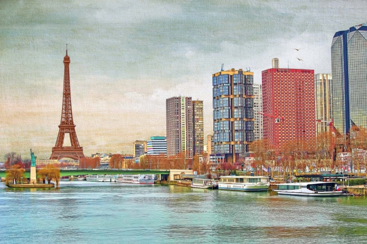 Eiffel Tower and Paris 16th District wallpaper
