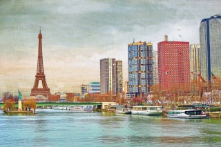 Eiffel Tower and Paris 16th District Background for Android, iPhone and iPad